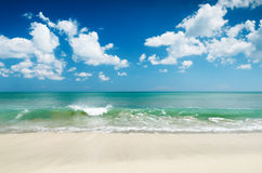 White sand beach and blue sky.  Royalty Free Stock Image