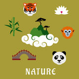 Nature and wildlife China flat icons. Nature and wildlife of China flat icons of mountain top in clouds with pines, surrounded by panda, tiger, golden snub nosed Stock Photos