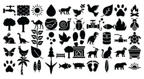 Nature and Wildlife Isolated Vector Icons set which can easily modify or edit stock illustration