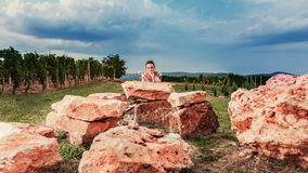 In the nature, wine is a woman`s model stock photography