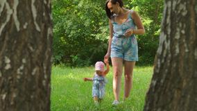 A woman is leading a baby by the hand on the grass. In nature, a woman is leading a baby by the hand on the grass stock footage