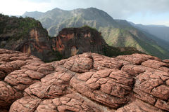 Nature Wonder. Qiangui (Thousand Turtle) mountain, Danxia landform in Yunnan of China Stock Images
