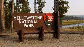 Nature Wonders Yellowstone National Park Wyoming. Nature wonders. Volcanoes and hot springs in Yellowstone National Park sign. Wyoming, United States Stock Photo