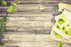 Nature Wooden Background. Illustration of Nature Wooden Background With Flower and Old Papers Stock Photos
