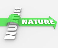Nature Word Jumping Arrow Over Nurture Genetics Hereditary Royalty Free Stock Photography