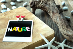 Nature word message on Blank instant photo Royalty Free Stock Photography