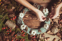 Nature wreath making Royalty Free Stock Photography