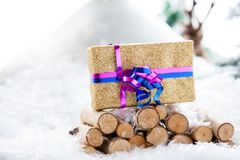 Nature Xmas Gift stand Stock Photo