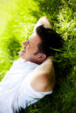 Nature yoga man Stock Image