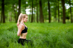 Nature yoga session in woods Royalty Free Stock Image