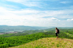 Young hiker on the hilltop Royalty Free Stock Photos