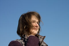 Naturel Beauty Girl standing in blowing wind Royalty Free Stock Photos