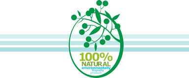 100% NATUREL. label Photo libre de droits
