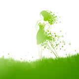 Naturel woman. Illustration of a Natural Green Background with Beautiful Girl Stock Images