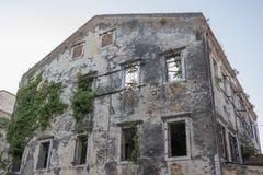 Naturen återtar en övergiven förstörd byggnad arkivfoto