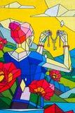 Naturen för kvinnavårsommar blommar himmelutrymmen, bilden på väggen, grafitti, tangenter i handen, gåva av naturen royaltyfri illustrationer