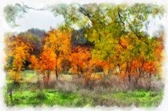Naturen för landskapet för skogen för höstbakgrund parkerar den härliga färgrika med träd i modell för konstnärlig stil för vatte royaltyfria bilder