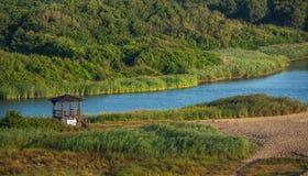 Naturen parkerar rezerve med härlig flodsäng i sommarsäsongen Royaltyfria Bilder