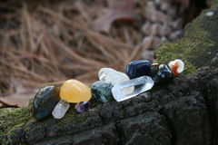 Natures Gifts. Quartz, citrine, amythest, gems for connecting with nature Stock Photo