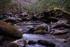 Naturescape macro de um rio pequeno na velocidade do obturador lenta fotografia de stock royalty free