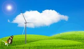 A natureza ajardina a grama verde e o céu azul ilustração do vetor