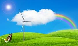 A natureza ajardina a grama verde e o céu azul ilustração stock