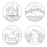 A natureza ajardina Logo Outdoor Life Symbol Lake ilustração royalty free