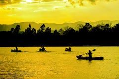 Natureza, caiaque e sunste abstratos Foto de Stock