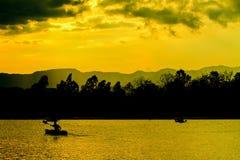 Natureza, caiaque e sunste abstratos Fotografia de Stock