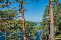 Natureza da ilha de Valaam Vista da montagem Eleon Valaam - o lugar da peregrina??o de crentes ortodoxos imagens de stock