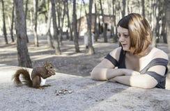 Natureza da menina do esquilo Imagem de Stock