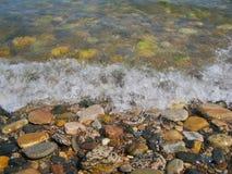 Natureza de Baikal Seixo na borda da água Imagens de Stock Royalty Free