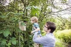 Natureza de exploração do pai e do filho Imagens de Stock
