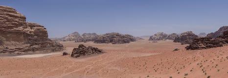 Natureza, deserto e rochas de Wadi Rum (vale da lua), Jorda Fotos de Stock Royalty Free