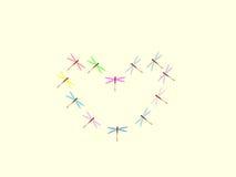 Natureza do amor do símbolo das libélulas do teste padrão do coração Foto de Stock Royalty Free