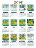 Natureza 2016 do calendário Fotos de Stock Royalty Free