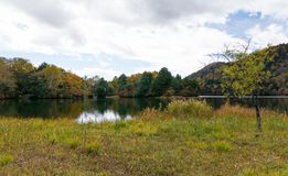 Natureza do lago azul e do céu azul, Imagem de Stock