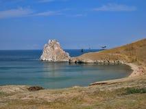 Natureza do Lago Baikal Cabo Burkhan - rocha do curandeiro Imagens de Stock