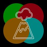 Natureza do magma do vulc?o que funde - acima com lava da montanha ilustração do vetor