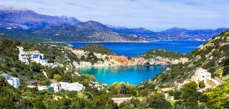Natureza e praias bonitas da ilha da Creta, baía de Istron Greece Imagem de Stock Royalty Free