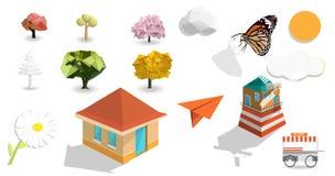 Natureza e vetor ajustado isolado objeto ilustração royalty free