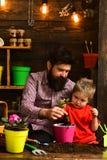 Natureza farpada do amor da crian?a do homem e do rapaz pequeno jardineiro felizes com flores da mola Pai e filho Dia da fam?lia imagens de stock royalty free