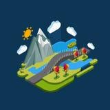 Natureza isométrica do conceito da paisagem lisa com montanhas, ponte e rio Imagens de Stock Royalty Free