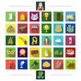 , natureza, negócio, esporte e o outro ícone da Web no estilo liso realizações, cabeleireiro, turismo, ícones na coleção do grupo ilustração stock