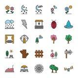A natureza, os parques e as árvores isolaram os ícones do vetor ajustaram-se que podem facilmente ser alterados e editado em todo ilustração stock