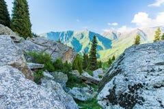 Natureza perto do lago grande Almaty, Tien Shan Mountains em Almaty, Cazaquistão, Ásia Imagens de Stock