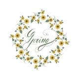 Natureza redonda floral do quadro dos girassóis ilustração royalty free