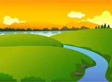 Natureza verde bonita com lago e montanha no por do sol Ilustração do Vetor