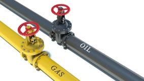 Naturgas- och oljaströmförsörjningar stock illustrationer