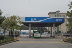 Naturgasbensinstation arkivfoton